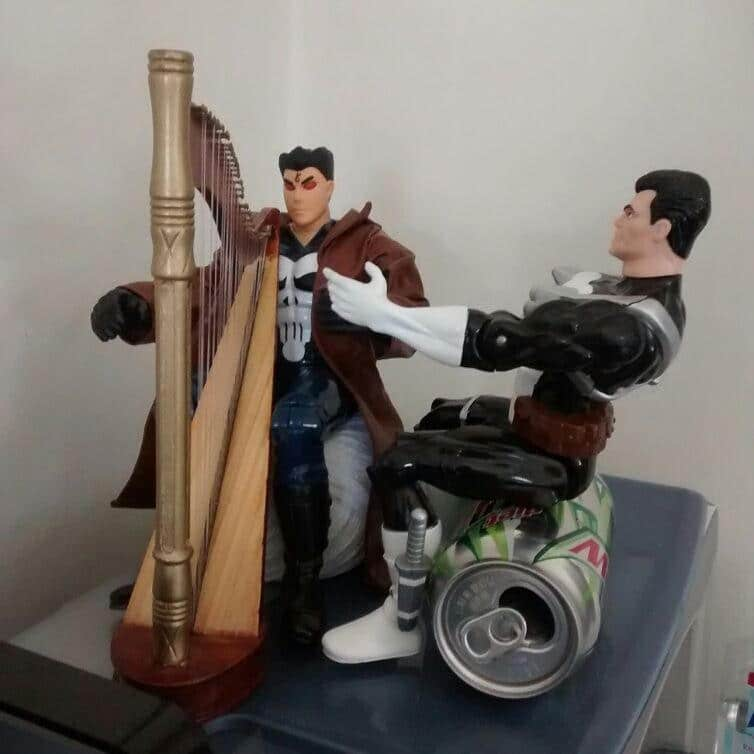 Teaching Angel Punisher how to play the harp.