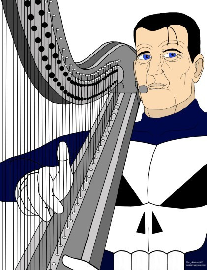 Steve Dillon's Punisher on the harp from The Punisher Harp Zone (punisherharpzone.com)