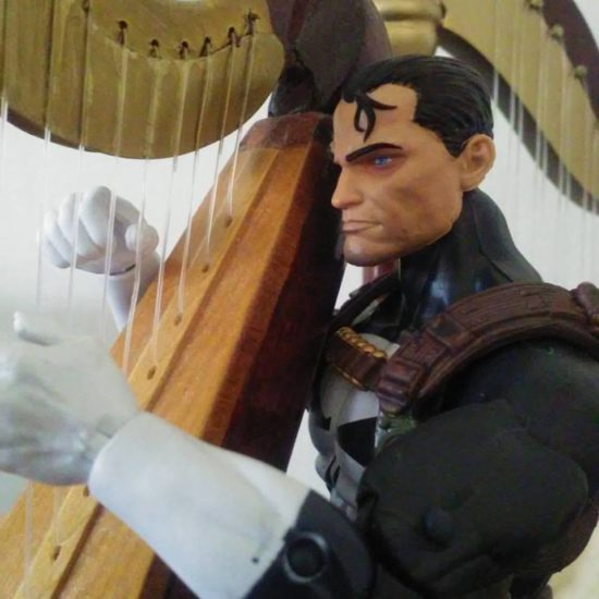 Jim Lee's Punisher adjusts to his harp.