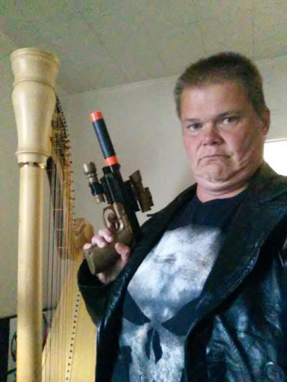 Grover, my harp is now under the protection of The Punisher (Me in my Punisher cosplay standing besides Grover)!